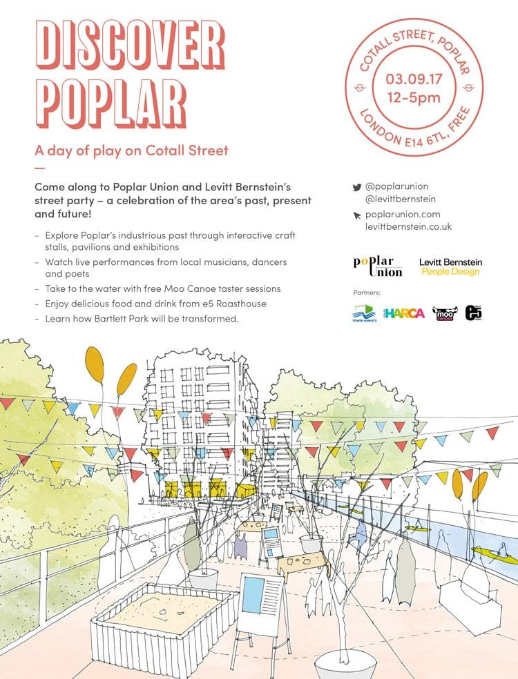 Discover Poplar arts community event street party poplar union music food stalls