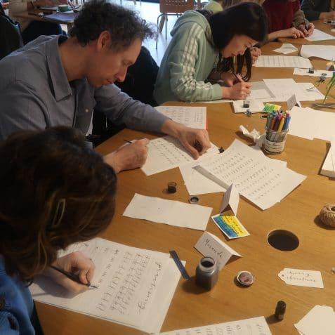 calligraphy workshop, poplar union, east London, things to do near me, e5 roast house, art centre, Beeta Taylor-Sadeghi, tower hamlets
